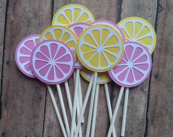12 Pink Lemonade Toppers