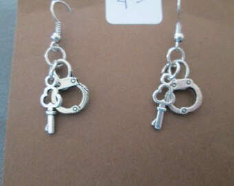 Handcuff and Key Earrings