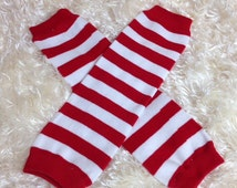 Red stripe Leg Warmers-Baby leg warmers/Photo Prop red and white stripe