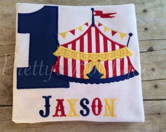 Circus Birthday Shirt Under the Big Top with Name & Age Embroidered – Sizes Newborn to Youth 12/14