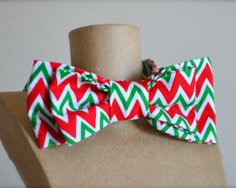 Christmas Zig Zag Bow Tie, Boys Size 5 to 9, Christmas, Ready to ship