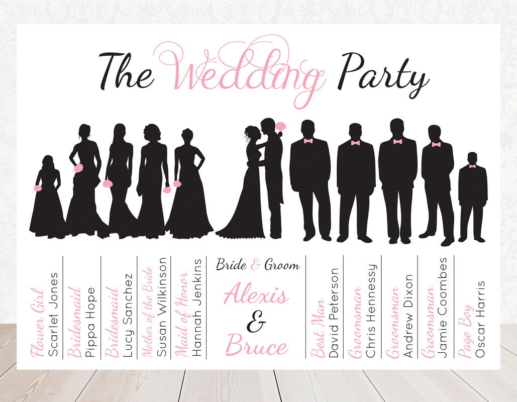 Items Similar To Wedding Party Bridal Party Silhouette Program Card