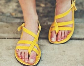 SALE, 25% OFF. Yellow Leather Sandals, Strap Women Sandals