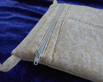 Crossbody bag in white with gold glitter for special occasions, handmade small pocketbook, purse, messenger, wedding, prom