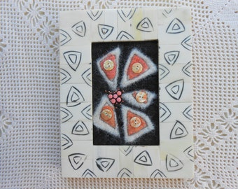 Fiber art mixed media collage - alpaca & hand dyed wool w/ Mother of Pearl buttons - framed, ready to use, handmade, desk art