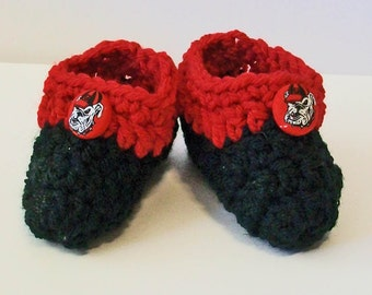 Adorable Hand Crocheted Baby Bootie Shoes Red and Black Bulldogs Inspired Great Photo Prop Matching Hat & Bib Also