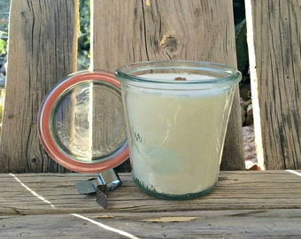 Unscented Soy Candle Wooden Wick in a Glass Jar With Lid 9 oz White Wax