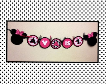 Minnie Mouse Birthday Decorations Banner -Name with your child's age