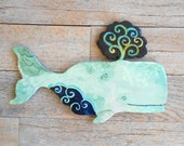 Baby Boy sperm whale by Kimberly Hodges, wood wall whale, whale folk art, wood sculpture