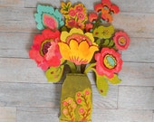 Provence Poppies wood sculpture by Kimberly Hodges-now in two sizes, folk art flowers, folk art sculpture, wood flowers