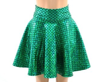 Holographic Metallic Emerald Green Round Scale Mermaid Scale  Sparkle Skater Skirt -E7816
