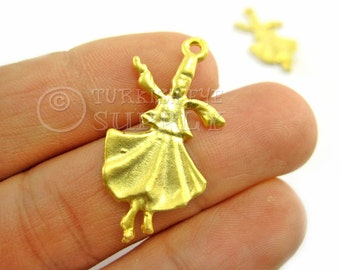 2 pc Whirling Dervish, Semazen Charm, Pendant, 22k Matte Gold Plated, Sufi Findings