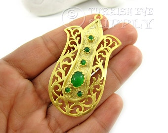 Curved Gold Tulip Pendant with Green Jade Gemstones  22K Gold Plated Turkish Jewelry