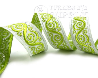 Oriental Woven Border Embroidered Ribbon Sewing Trim Metalic Green Jacquard Ribbon 1 Meter ( 1.09 Yards, 3.3 feet )