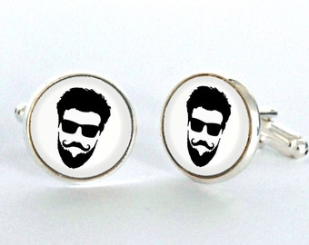 Beard accessories beard art jewelry Gift Silver Plated Cufflinks - gift for him