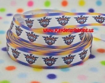 3 yards Phoenix Suns - 7/8 inch - BASKETBALL - Printed Grosgrain Ribbon