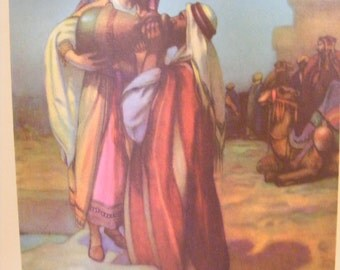 Vintage 1939 Lithograph Rebekah Sharing Water at Well Religious Print Christian Buy 2 get 1 Free