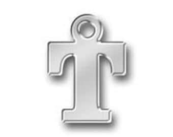 1 Initial Pendant Alphabet Letter T Silver Letter Charm Necklace Initial 13x9mm by TIJC SPLT