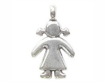 5 Silver Girl Charm Pendant 27x16mm by TIJC SP0447