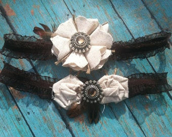 rustic wedding garter set, country garter set, bridal garter