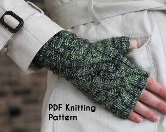 PDF Knitting Pattern: Keelback Mitts, cabled fingerless mitts with a unique construction