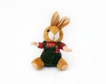 Vintage Small Plush Bunny Rabbit wearing checkered shirt  and corduroy shorts