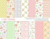 "Kitchen Themed Digital Paper  ""COOKING DIGITAL PAPER""  Digital paper for scrapbooking, cardmaking. Commercial License for Small Business."