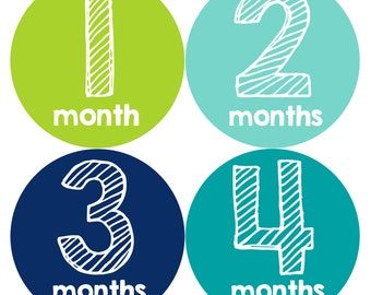 Monthly Baby Milestone Stickers Baby Boy Baby Shower Gift One-Piece Baby Stickers Monthly Baby Stickers Baby Month Sticker 112