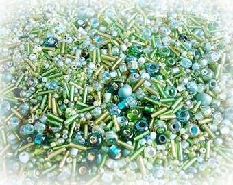 Seed Bead Mix - Meadow Emerald & Mint Green
