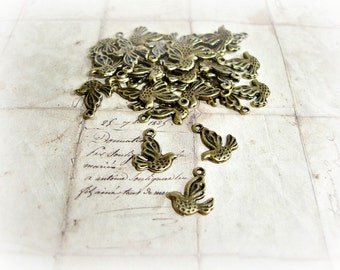 10 Antique Bronze Bird Charms