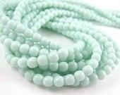 Opaque Pale Jade Green 4mm  Round Czech Glass  Beads 100pc #1745