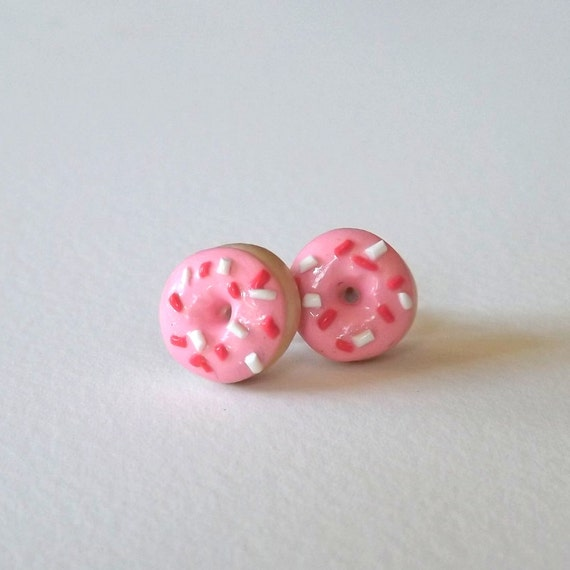 Pink Donut Earrings -  Hypoallergenic Studs - Plastic Posts - Food Earrings - Miniature Food Jewelry - Donut Studs