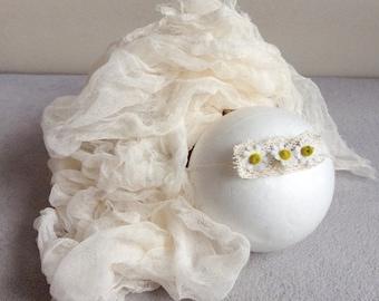 Newborn Photo Prop, Tie Back Cheesecloth Wrap, Baby Photography Prop, Baby Tieback Headband, Cheesecloth Set Baby Posing Halo