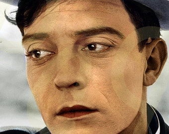 Buster Keaton, Silent Film Movie Star Colorization Portrait Painting Art Poster