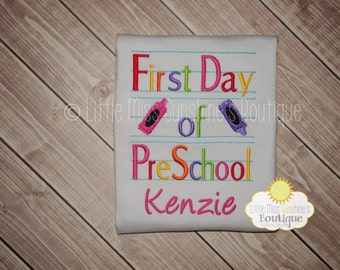 First Day Of Preschool Shirt, First day of Kindergarten Shirt, First day of School Shirt, Personalized First Day of School Shirt