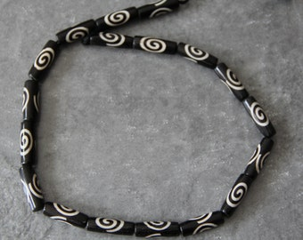 "Batik Bone SpiralTube Beads, 18"" long full strand"