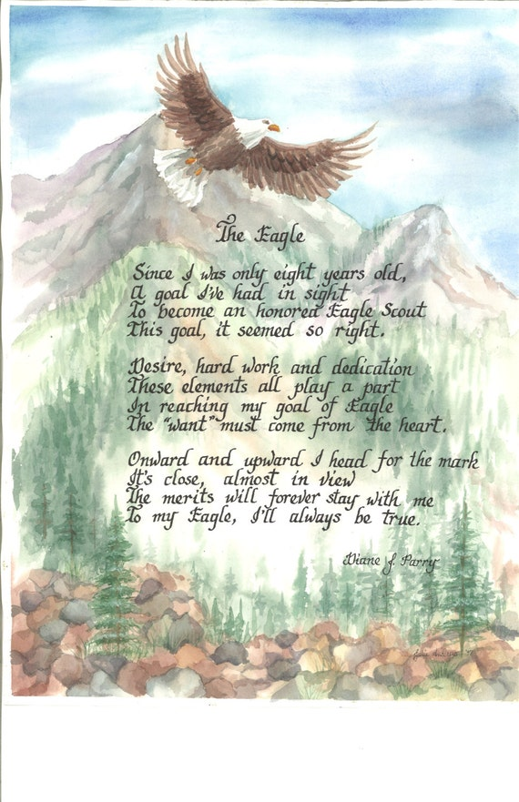 Eagle Scout print in watercolor with calligraphy by Julieartdreams