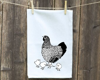 Flour Sack Towel-Tea-Dish-Hand-Kitchen-Chicken with Babies