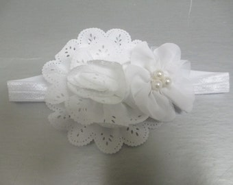 White Eyelet flower paired with a White Pearl Flower Headband, baby headband, newborn headband, hair bow