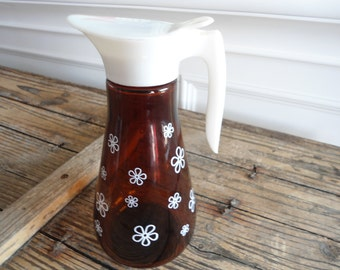70s Amber Glass Syrup Pitcher made by Thatcher Co.