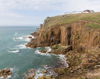 Buildings perched on the cliffs of Land's End, Cornwall - Landscape photography - mounted print photograph 12 x 9