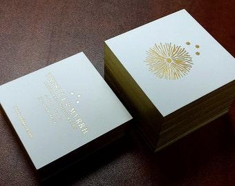 Letterpress Business Cards -100 - 2 Foil Colour + Edge Printing