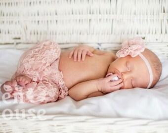 Newborn Set Cute Lace Pants and Stretch Headband for Newborn Photo Shoot