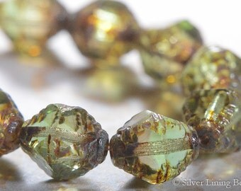 BACK IN STOCK! Clearly Pine (10) - Czech Glass Bead - 10x8mm - Bicone