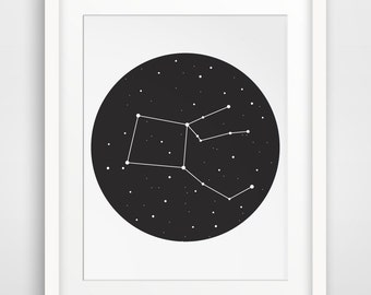 Constellation Print, Constellation Art, Black Stars Constellation Wall Art, Black Night Sky, Constellations, Circle Wall Print