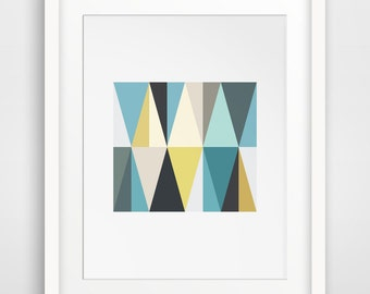 Teal and Mustard Geometric Triangle Wall Art, Yellow and Blue Triangles, Geometric Wall Print, Colorful Wall Art, Mustard Printable Wall Art