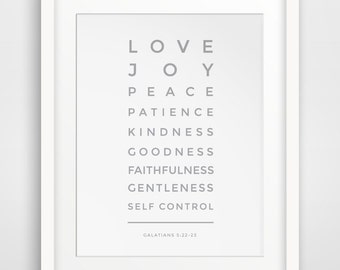 Grey Bible Verse Print, Love, Joy, Peace, Patience, Galatians 5 22, Christian Print, Christian Art, Bible Verse Art, Scripture Wall Art