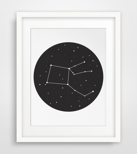 Constellation Print, Constellation Art, Black Stars Constellation Wall Art, Black Night Sky, Constellations, Circle Wall Print