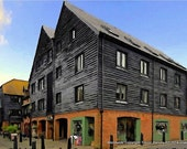 Art Print, Rye, East Sussex, English Landscape, Townscape Art Print, SFA, Open Edition, Building Art Print, Grey, Blue, Town, Etsy UK seller