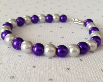 Purple and Silver Pearl Bracelet, Purple and Silver Wedding, Pearl Bracelet, Bridesmaid Jewelry, Purple and Gray Wedding